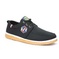 Black Cotton Sneaker Shoe For Men FFS709