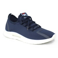 Dark Blue Fabric Sneakers Shoe For Men FFS713