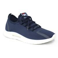 Dark Blue Fabric Sneakers Shoe For Men FFS713