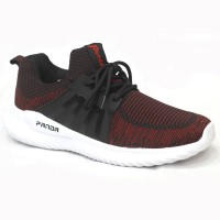 Maroon Cotton And Fabric Sneakers Shoe For Men