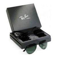 Ray-Ban Flip-Out RB 3460 Aviator Black Large Metal Replica Sunglass