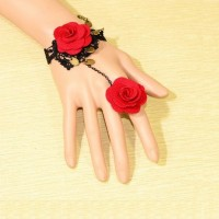Red Rose Bracelet with Finger Ring