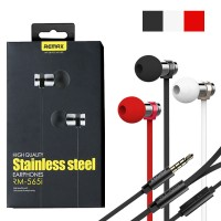 Original REMAX RM-565i Stainless Steel Earphone Black/ White/ Red