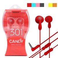 Original REMAX Candy Wired Earphone RM 301 Black/Blue/Pink/Red/White/Yellow