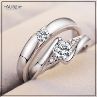 Valentine Special Clear Cubic Zirconia Promise Couple Rings SCR370