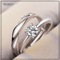 Valentine Special Clear Cubic Zirconia Promise Couple Rings SCR381