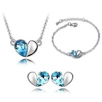Romantic Platinum Simple Heart Jewelry Set