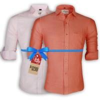 LAVELUX Premium Slim Solid Cotton Casual Shirts : Combo 32