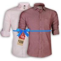 LAVELUX Premium Slim Solid Cotton Casual Shirts : Combo 36