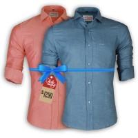 LAVELUX Premium Slim Solid Cotton Casual Shirts : Combo 37
