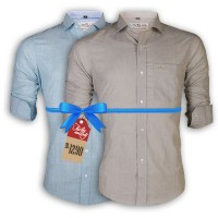LAVELUX Premium Slim Solid Cotton Casual Shirts : Combo 38