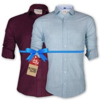 LAVELUX Premium Slim Solid Cotton Formal Shirts : Combo 45
