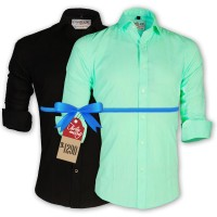LAVELUX Premium Slim Solid Cotton Formal Shirts : Combo 51