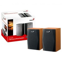 Genius SP-HF150 USB Powered Speakers - Black, Silver & Wooden
