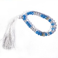 White-Blue Crystal Prayer Beads - Tasbih  RS212