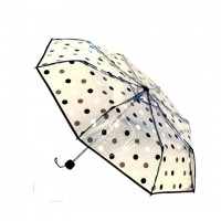 Folding Transparent Black Ball Print Moon Umbrella