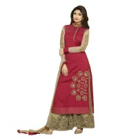 Shilpa Shetty Red Raw Silk Embroidered Palazzo Suit WF106