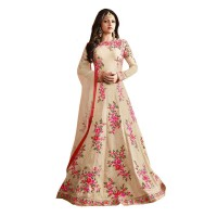Floral Embroidered Anarkali Off White WF107