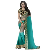 Grey And Turquoise Superb Mudra Designer Saree WF305