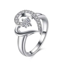 Heart Shape Finger Ring Silver