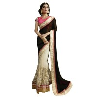 Nirvana Exclusive White & Black Stylish Designer Saree