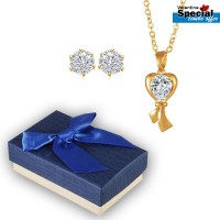 Golden Plated Romantic Heart White Stone Pendant & Earrings For Women