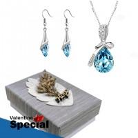 Angel Teardrop Crystal Pendant & Earrings For Women