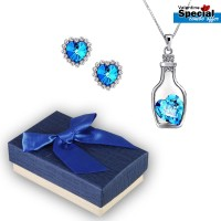 Heart in a Bottle Gemstone Pendant & Earrings For Women