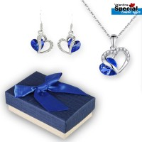 Cristallo Blue Girl Heart Of Pendant & Ear Ring