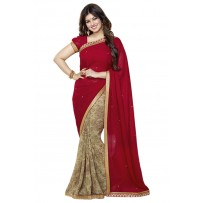 Vinay Exclusive Deep Merlot Printed Chiffon Saree - DO10