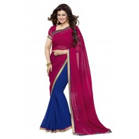 Vinay Exclusive Pink and Wine Printed Chiffon Saree  - SW36