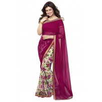 Vinay Exclusive Charming Cranberry Printed Chiffon Saree - DO14