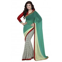 Vinay Exclusive Pest And Off White Printed Chiffon Saree - DO17