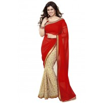 Vinay Exclusive Red And Off WhitePrinted Chiffon Saree - DO18