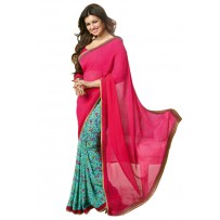 Vinay Exclusive Pink And Off Turquoise Printed Chiffon Saree - SW37