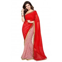 Vinay Exclusive Deep Salmon Printed Chiffon Saree - DO20