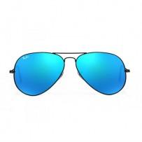 Ray-Ban RB3025 Blue Metal Aviator Matte Black Frame Replica Sunglasses