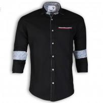 DEVIL Pure Cotton Casual Black Shirt DE126