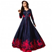 Drashti Dhami Navy Blue Silk Long Anarkali Suit WF049