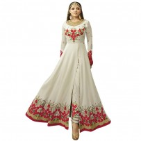 Party Wear White Georgette Embroidered Semi-Stitched Suit WF091