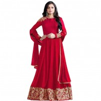 Exclusive Eid Special Drashti Dhami Embroidered Red Anarkali Suit WF078