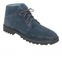 Navy Blue Casual Leather Boot FFS419