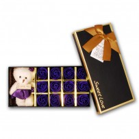 Valentine Special Rose Box With Teddy Bear - Violet