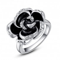 Black Rose Austrian Crystals Ring For Girls - Silver