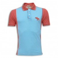 Abercrombie & Fitch Polo Shirt MH29P Aqua & Red