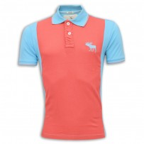 Abercrombie & Fitch Polo Shirt MH31P Coral & Sky Blue