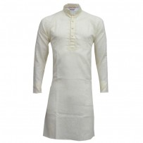 Exclusive Design Mixed Cotton Punjabi SB55P White