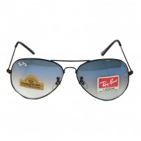 Ray-Ban Aviator RB 3026 Diamond Hard Black-Blue Shade Sunglasses
