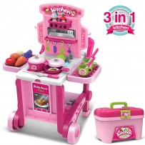 3 In 1 Little Chef Kitchen Set With Trolley  KPS717