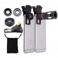 4 in 1 Metal Ring 10x Mobile Zoom Telephoto Lens